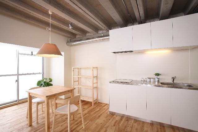 キッチン無垢材画像