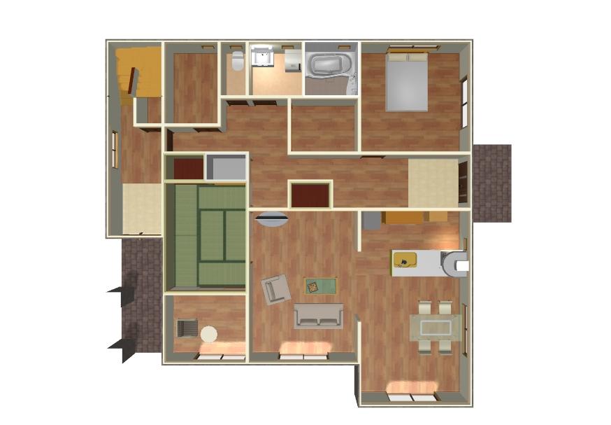 二世帯住宅で完全分離型の間取り1階イメージ画像