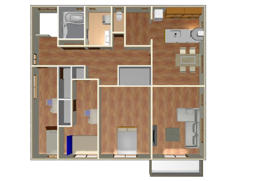 二世帯住宅で完全分離型の間取り2階イメージ画像