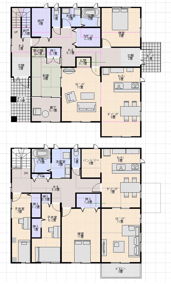 二世帯住宅で完全分離型の間取り図