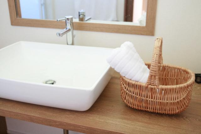 注文住宅で洗面所の収納画像