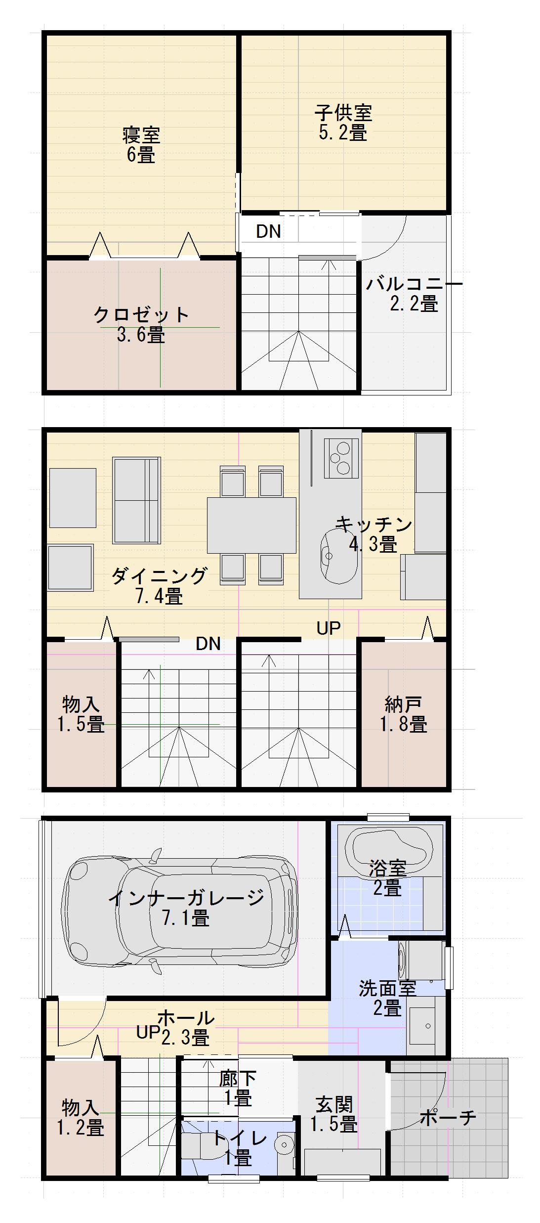 建坪10坪新築3階建ては狭い?画像